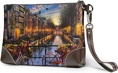 pochette en cuir pour femme Amsterdam Aglow Leather Wristlet Clutch Bag Sacs à main à glissière Sacs à main pour femmes Porte