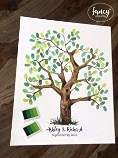 FancyStudios Wedding guestbook alternative guest book sign poster watercolor hand painted tree original painting drawing thumbprint fingerprint thumb tree personalized keepsake engagement retirement