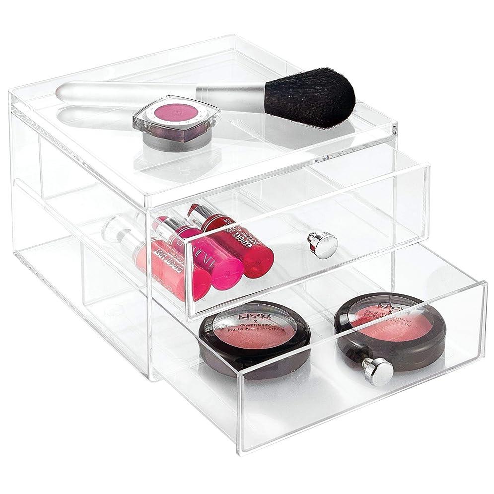 取り戻す感謝する発明するInterDesign 化粧品 小物 収納 ボックス コスメ オーガナイザー 積み重ね 2段 Clarity クリア 36360EJ