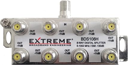 EXTREME 8 WAY BALANCED HD DIGITAL 1GHz HIGH PERFORMANCE HORIZONTAL COAX CABLE SPLITTER..