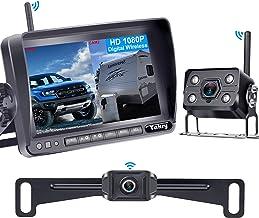"""دوربین پشتیبان بی سیم دیجیتال Yakry Y33 HD 1080P دوربین دید عقب برای RV ها ، تریلرها ، کامیون ها ، چرخ های 5 ، ماشین های 5 """"مانیتور با سیستم مانیتورینگ بزرگراه IP69K ضد آب دید فوق العاده شبانه"""