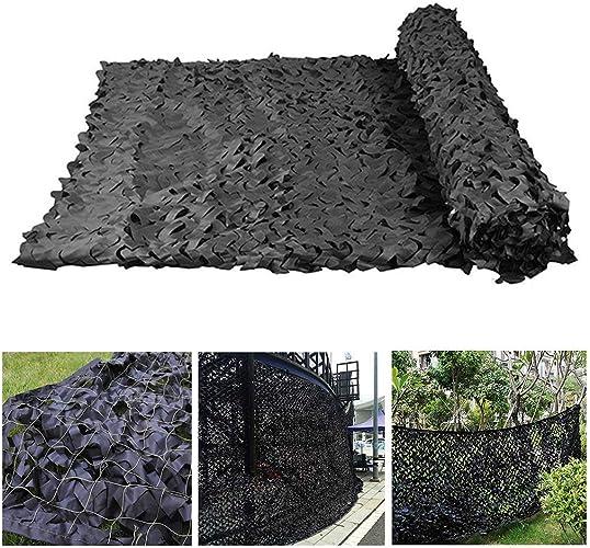 Filet de Camouflage Filet D'ombrage Auvents, Filet de Camouflage Noir 3x5 m, Filet de Camouflage pour Tentes Résistantes au Feu Aux Flammes,Filet de Prougeection Solaire pour Jardin