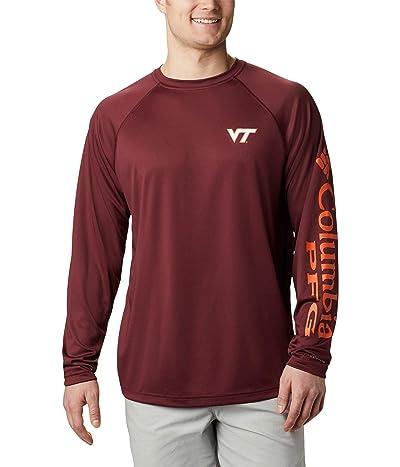 Columbia College Virginia Tech Hokies Terminal Tackle Long Sleeve Shirt (Deep Maroon/Tangy Orange) Men