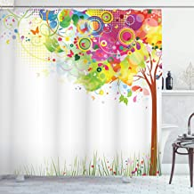 Ambesonne Tree Shower Curtain, Color Bursting Tree of Life Colorful Pastoral Creative Design Modern Style Art Print, Cloth Fabric Bathroom Decor Set with Hooks, 75