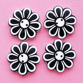 4 Large Wood Buttons Daisy Floral Design 37mm - BUT318 - Jewelry Accessories Chain Bracelet Necklace Pendants