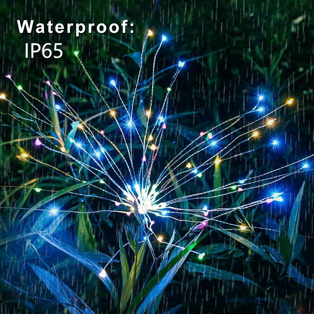 Solarleuchte Garten, 105 LED Solar Feuerwerk Licht, DIY Draussen Landschaft Licht Wetterfest Dekoratives für Garten Rasen Feld Terrasse Weg (Regenbogen Bunt, 4 Pack) … Regenbogen Bunt, 2 Pack