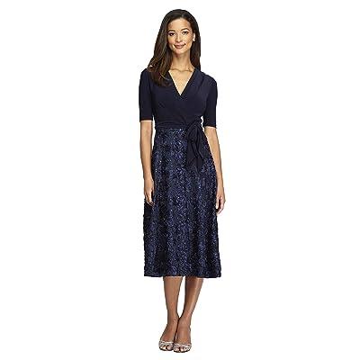 Alex Evenings Petite Tea Length Party Dress with Full Rosette Skirt and Tie Faux Belt (Navy) Women