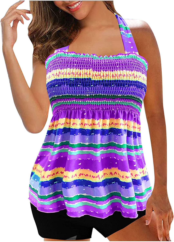 JINRS Women Tankini Swimsuits Layered Ruffle Flounce Tankini Top with Boyshorts Two Piece Bathing Suits Womens Suits