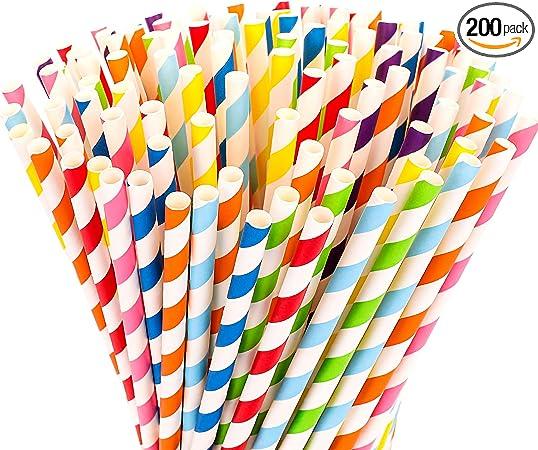 Hiware 200-Pack Biodegradable Paper Straws