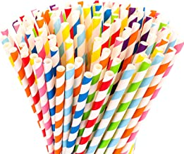 Hiware 200-Pack Biodegradable Paper Straws - 8 Different Colors Rainbow Stripe Paper Drinking Straws - Bulk Paper Straws f...