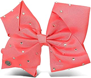 "Jojo Siwa Baby Girls` Hair Accessories All Over Rhinestone Bow 6.5"" x 5"" Coral"
