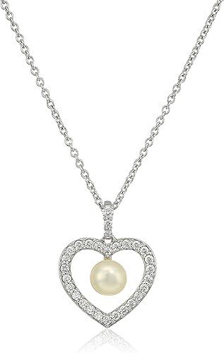 Collection Halskette mit Anh er Sterling-Silber 925 Swarovski-Kristalle Sü sser-Zuchtperle in Herzform 16 + 2 Extender