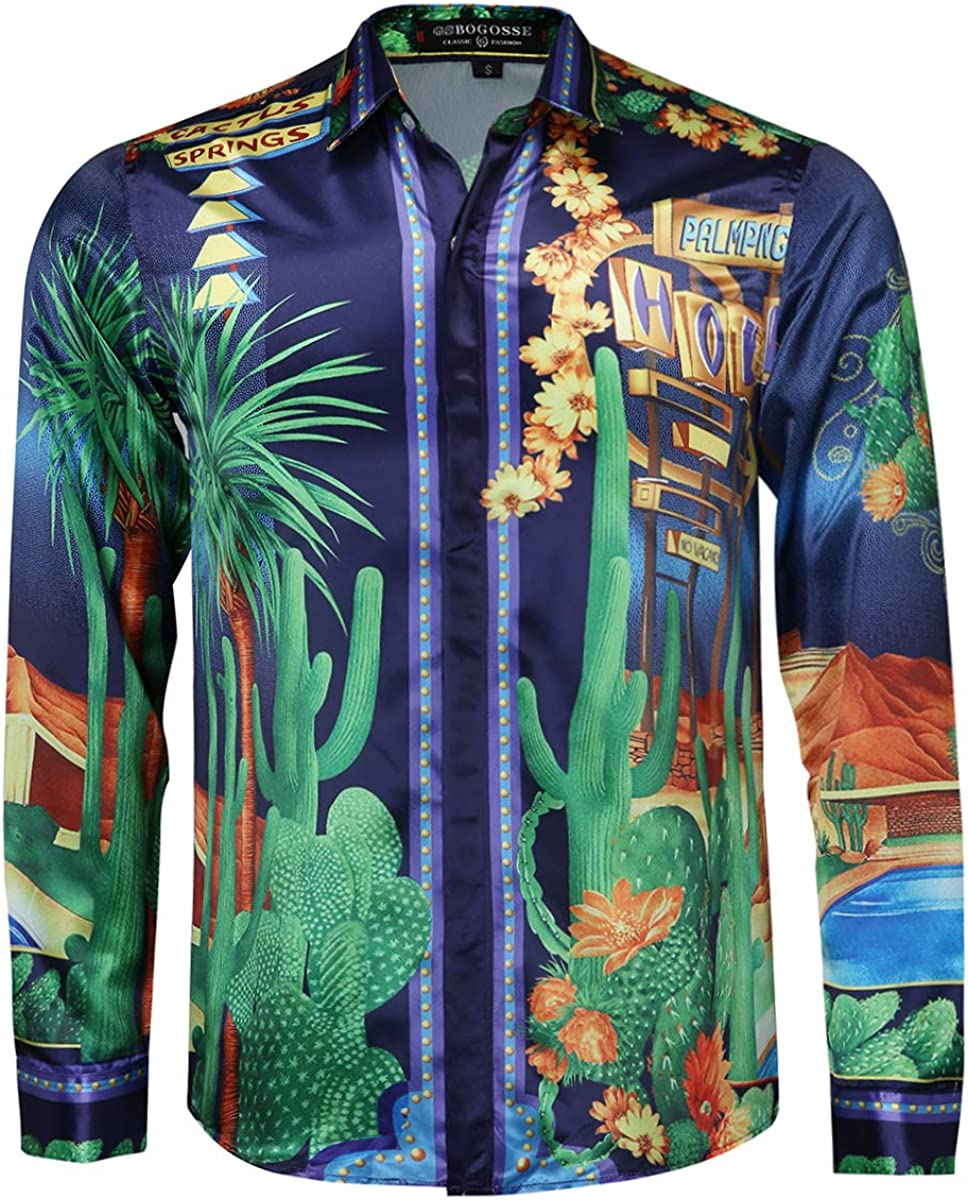 Luxury Brand Long Sleeve Mens Casual Button Down Fashion Printed Silk Like Satin Dress Shirt for Nightclub Prom Party
