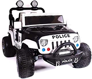 12 Volt Explorer Truck Battery Powered Led Wheels 2 Seater Children Ride On Toy Car for Kids Leather Seat MP3 Music Player with FM Radio Bluetooth R/C Parental Remote (Police)