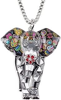 Signature Africa Wildlife Collection Sunrise Jungle Safari Wild Elephant Enamel Pendant Necklace