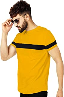 Leotude Cotton Yellow Black Casual Round Neck T-Shirts for Men