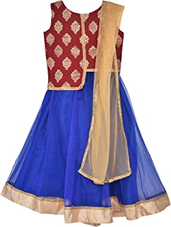 Girl's Lehenga Choli Set Indian Party Ethnic Traditional Wear Red & Blue Brocade & Net Festive wear Dress with Dupatta