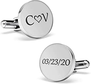 Personalized cufflinks for men, custom engraved cufflinks for groom, gold & silver wedding cufflinks for groom, initials cufflinks for men, groom cufflinks from bride