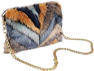 FHQHTH faux-pelz-kupplungen purse fuzzy schultertasche für frauen-abend-handtaschen al-legierung schultergurt