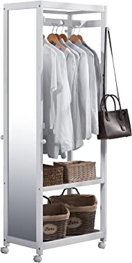 Vlush Free Standing Armoire Wardrobe Closet with Full Length Mirror, 67'' Tall Wooden Closet Storage Wardrobe with Brake Wheels,Hanger Rod,Coat Hooks,Entryway Storage Shelves Organizer- White