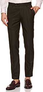 IN TRY Men's Stretchable Brown Slim Fit Formal Trouser