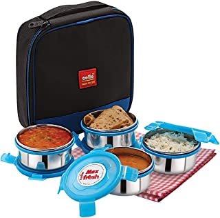 Cello Max Fresh Supremo Stainless Steel Lunch Box Set, 300ml, Set of 4, Blue