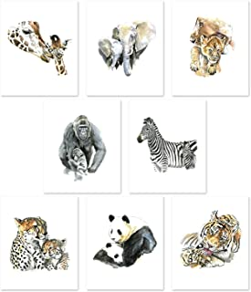 Nursery Art - Set of 8 Mom and Baby Animal Prints Posters // Safari Jungle Wildlife Theme Wall Decor // Boy Girl Room // Watercolor Paintings // Cute Pictures // Baby Shower Present (8x10)