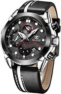 Men's Watches Chronograph Luminous Leather-OLEVS Sports Waterproof Date Analog Quartz Multifunction Military Black&Blue Face Fashion Dress Wristwatch