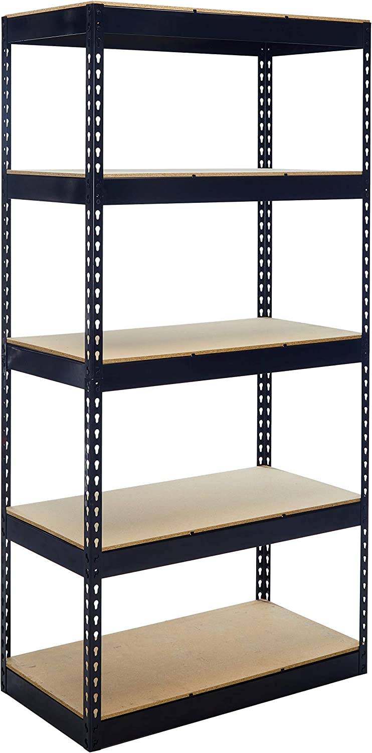 Lorell Riveted Steel Shelving -72  Heightx36 Widthx18 Depth -5 Compartment(s) -Steel -Black