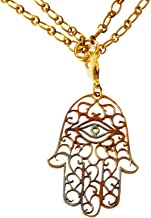 "product image for From War to Peace Large Hamsa Iridescent Pendant Necklace on 18-36"" Antiqued Brass Cable Chain"
