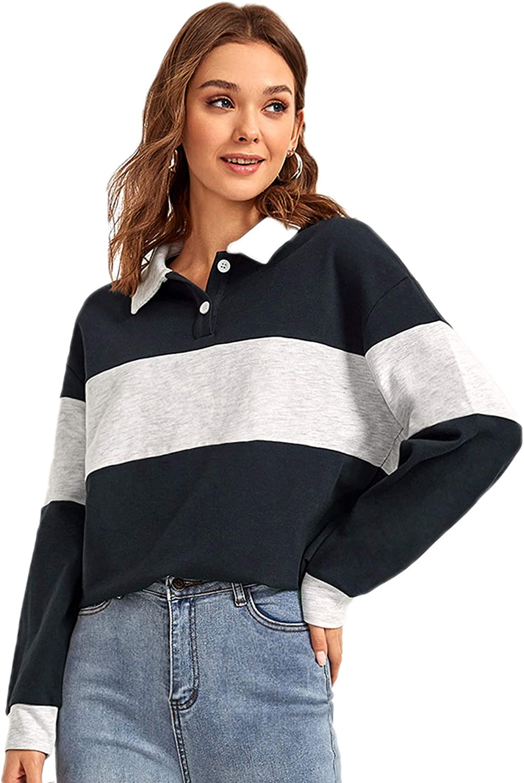 Verdusa Women's Polo Collar Colorblock Button Front Long Sleeve Sweatshirt