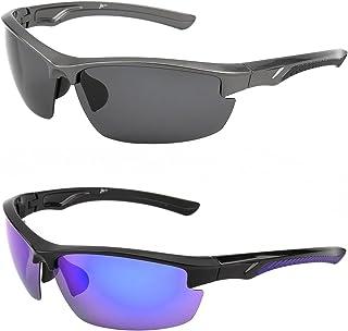 3631b0367d11f Polarized Sports Sunglasses for Men Women Semi Rimless Wrap Around Driving  Fishing Glasses