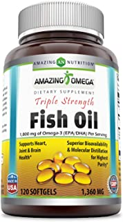 Amazing Omega Triple Strength Fish Oil - 1,360 Mg, Softgels (Non-GMO) - Supports Heart, Joint & Brain Health - Superior Bioavailability & Molecular Distillation for Highest Purity (120 Count)
