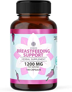 Breastfeeding Support 100 Capsules 1200 mg   Lactation Supplement   Increases Breast Milk Supply   Gluten-Free   Non-GMO