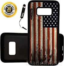 Custom Galaxy Note 8 Case (American Flag on Wood) Edge-to-Edge Rubber Black Cover Ultra Slim | Lightweight | Includes Free Mini Stylus Pen by Innosub