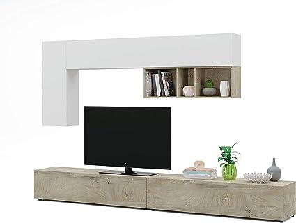 Esidra Mobile Soggiorno Parete Attrezzata Porta Tv Rovere 260 X 32 X 42 Cm Amazon It Casa E Cucina