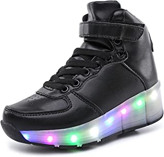 BY0NE Kids Boys Girls High-Top Shoes LED Light up Sneakers Single Wheel Double Wheel Roller Skate Shoes