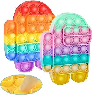 【Lot de 2】Push Pop Bulle, Squeeze Sensory Fidget, Anti Stress Relief Amusant, Anti-anxiété Autisme Spécial Besoins de Réta...