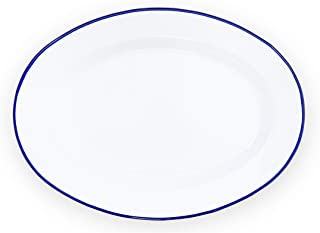 Enamelware Oval Plate, 11.75 inch, Vintage White/Blue (Single)