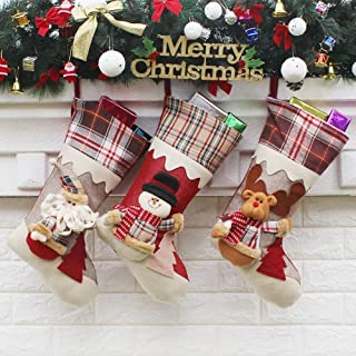 High-end Products Christmas Snowman Christmas Stockings Socks Christmas Ornaments Festive Decoration Supplies Creative Gift,Durability (Color : Three-Piece Suit, Size : 23.5 * 45 * 26.5cm)