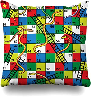 DIYCow Throw Pillows Covers Colorful Kid Snakes Ladders Board Game Start Finish Puzzle Forward Home Decor Pillowcase Square Size 18 x 18 Inches Cushion Case