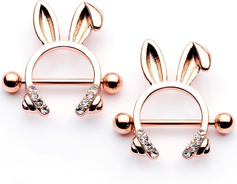Body Candy 14G Womens Nipplerings Piercing PVD Steel 2Pc Rosy Bunny Ear Headphones Nipple Ring Set 9/16