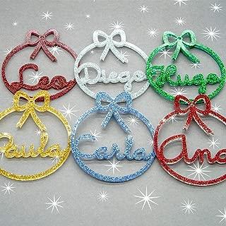 Bolas de navidad con purpurina personalizadas Adornos navideños Ornamento esferas Decoraciones colgantes de Navidad para el árbol de Navidad