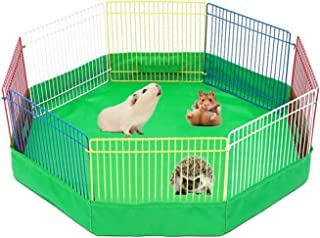 Tfwadmx Hamster Playpen Mat with Cover, Small Animal Foldable Exercise Play Area, Multi-Color Pet Cage Fence Indoor/Outdoo...