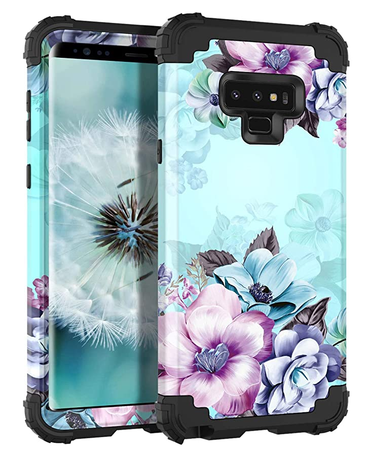 Casetego Compatible Galaxy Note 9 Case,Floral Three Layer Heavy Duty Hybrid Sturdy Armor Shockproof Full Body Protective Cover Case Samsung Galaxy Note 9-Blue Flower