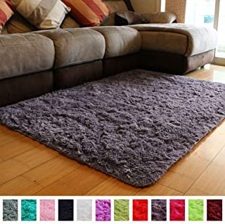 PAGISOFE Soft Fluffy Shaggy Area Shag Rugs for Bedroom Living Room Modern Cute Plush Fur Rug for Kids Dorm Girls Room Nursery Rug,(Purple and Grey), Solid Accent Rugs Carpet for Floor (4' x 5')