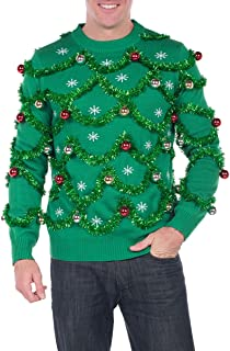 Men's Gaudy Garland Sweater - Tacky Christmas Sweater w/Ornaments