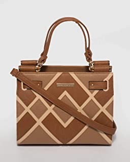 Tan Stephanie Diamond Square Tote Bag