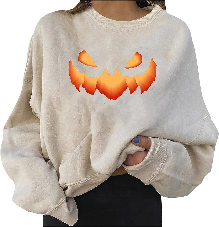 2021 new Halloween Womens Round Neck Long Sweatshirts Casual Print Sleeve Bombing new work