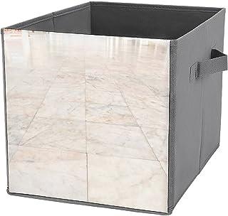 Boîtes de rangement cubiques pliables en marbre et carrelage durables avec poignées de transport pour maison, placard, cha...